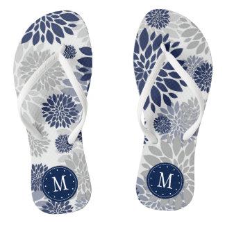 Tongs Monogramme floral gris de bleu marine