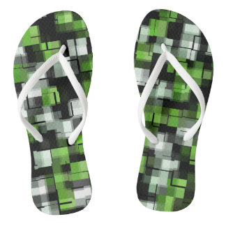 Tongs Motif à la mode blanc noir vert