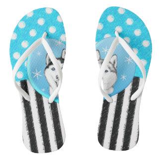 Tongs Motif bleu de chiens de traîneau