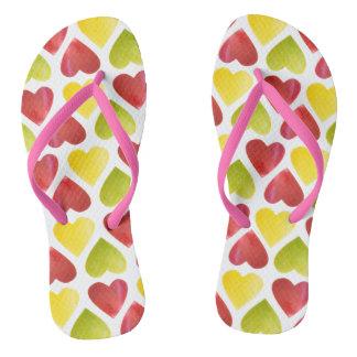 Tongs Motif coloré de coeurs d'Apple