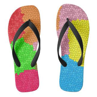 Tongs Motif de mosaïque coloré en verre souillé