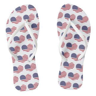 Tongs Motif en forme de coeur de drapeau américain