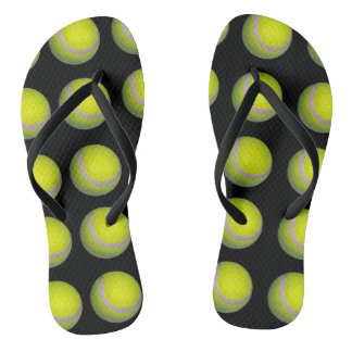 Tongs Motif jaune de balle de tennis,