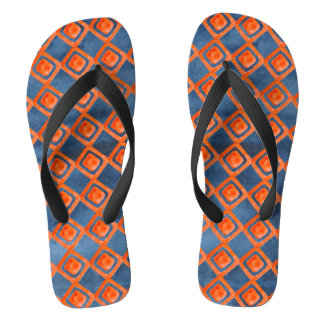 Tongs Motif orange d'aquarelle de bleu marine