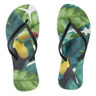 Tongs Motif tropical de feuille de banane de toucans