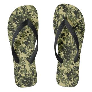Tongs Noir jaune vert de Camo de camouflage