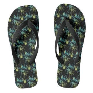 Tongs Palmier Sun de plage de paradis et noir vert de