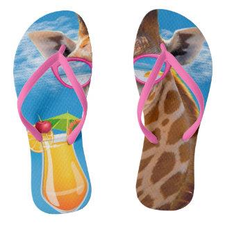 Tongs Plage de girafe - girafe drôle