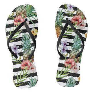 Tongs Rayures tropicales de noir de fleur d'ananas