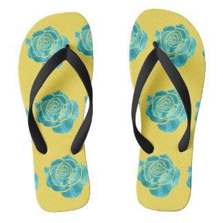 Tongs Rose de bleu sur le jaune