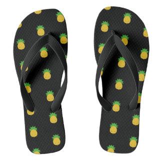 Tongs Sandales douces de bascule de noir d'ananas de