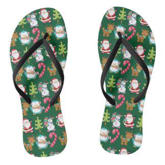 Tongs Vert mignon de Noël en juillet