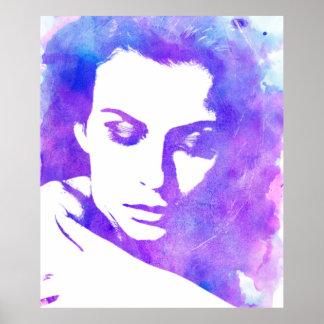Tonnes de pourpre de femme d'aquarelle poster