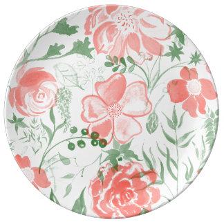 Tons de pastel de rose de fleurs d'aquarelle assiette en porcelaine