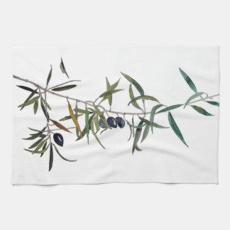 Torchon avec aquarelle de branche d'olivier