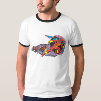 Tornade rouge dans le mouvement de vent t-shirts