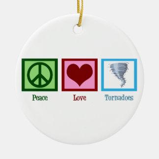 Tornades d'amour de paix ornement rond en céramique