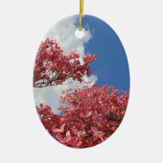 Torrent des fleurs ornement ovale en céramique