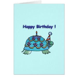 Tortue bleue 2 d anniversaire cartes de vœux