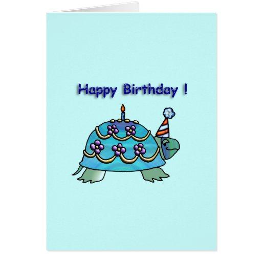 Tortue bleue 2 d'anniversaire cartes de vœux
