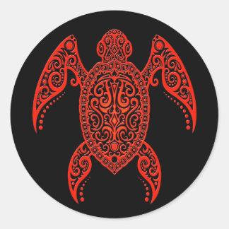 Tortue complexe de la Mer Rouge noire et Autocollants Ronds