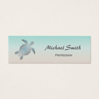 Tortue de mer argentée mini carte de visite