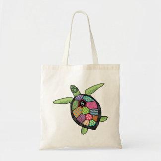 Tortue de mer colorée de monogramme de motif de sacs de toile