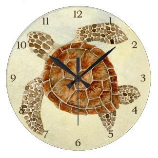 Tortue de mer côtière de collage de bord de la mer grande horloge ronde