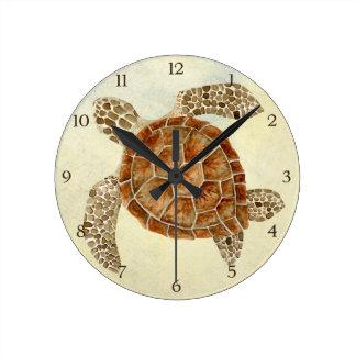 Tortue de mer côtière de collage de bord de la mer horloge ronde