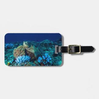 Tortue de mer sur la Grande barrière de corail Étiquettes Bagages