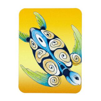 Tortue de mer sur le jaune magnet flexible