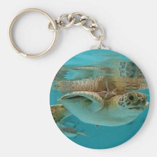 Tortue de mer verte de bébé porte-clé rond