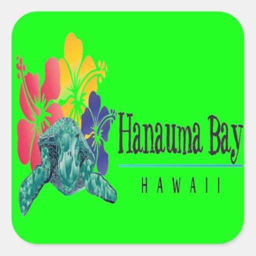 Tortue de mer verte d'Hawaï Autocollant Carré