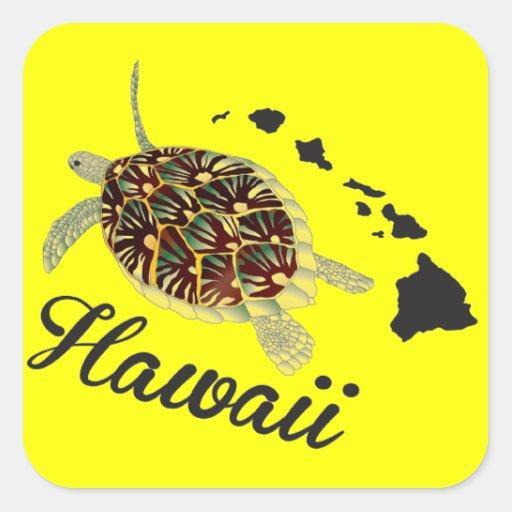 Tortue de mer verte d'Hawaï Stickers Carrés
