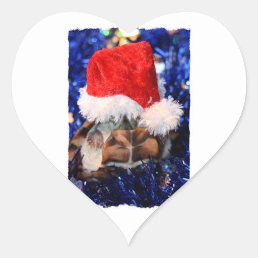 Tortue de musc Razorbacked, chapeau de Père Noël Autocollants En Cœur