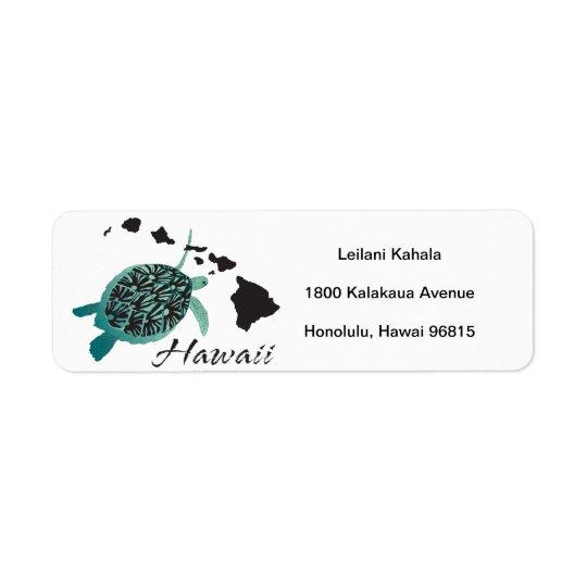Tortue d'Hawaï de baie de Hanauma Étiquettes D'adresse Retour