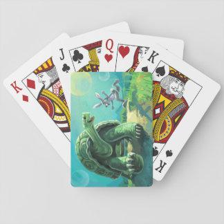 Tortue et l'art de lièvres cartes à jouer