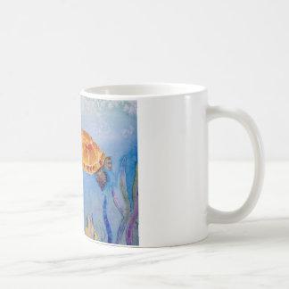 Tortue originale d'aquarelle sur la tasse