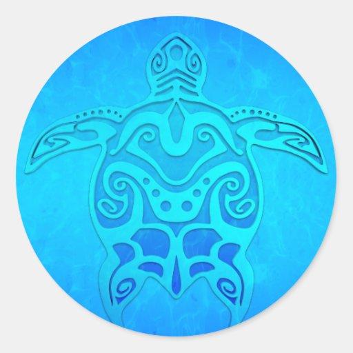 Tortue tribale bleue adhésif rond