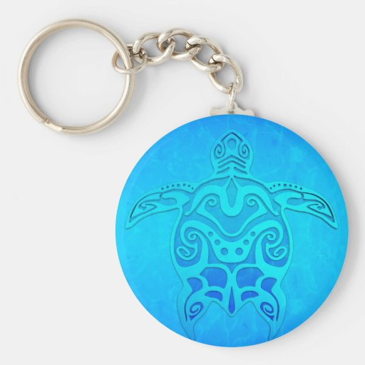 Tortue tribale bleue porte-clé