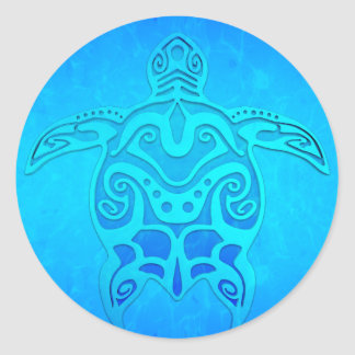 Tortue tribale bleue sticker rond