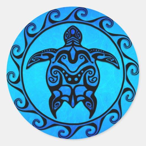 Tortue tribale bleue Sun Autocollant Rond