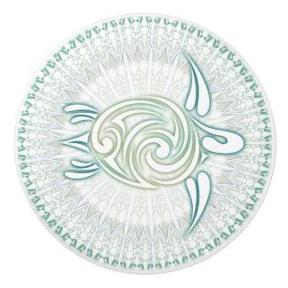 Tortue verte et mandala de turquoise bouton de porte en céramique