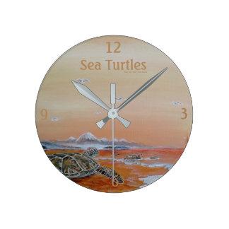 Tortues de mer ! Horloge de mur de tortue de mer