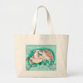 Tortues de mer turquoises grand sac