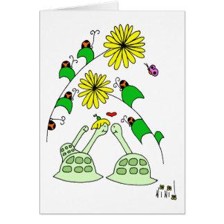 tortues et insectes de dame carte de vœux