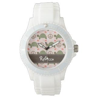 Tortues personnalisées d'amour de paix montres bracelet