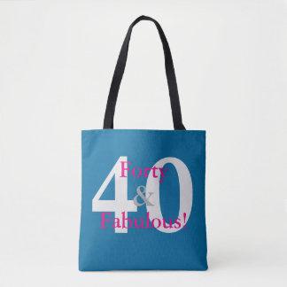 Tote Bag 40 et fabuleux ! Bleu fait sur commande et roses