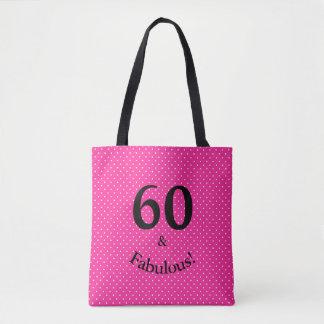 Tote Bag 60 et pois rose lumineux d'anniversaire fabuleux