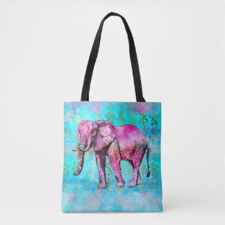 Tote Bag À la mode bleu de rose d'aquarelle d'éléphant